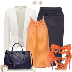 Orange and Blue, created by laaudra-rasco on Polyvore