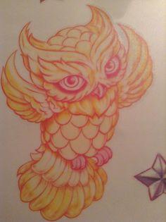 Pastel orange owl tattoo