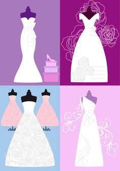 Free wedding dresses backgrounds vector