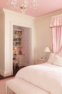 Wright Building Company - girl's rooms - ivory walls, ivory and pink bedroom, ivory and pink girls bedroom, white bedding with pink embroide.I want this room so badly Teen Girl Bedrooms, Little Girl Rooms, Teen Bedroom, Bedroom Small, Cool Rooms For Girls, Hot Pink Bedrooms, Young Adult Bedroom, Master Bedroom, Pink Bedroom For Girls