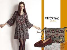 Vestido, zapatos y bolso étnico de la colección Otoño-invierno de FOR TIME