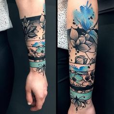Not crazy about this design, but I really like the use of color -. - Not crazy about this design, but I really like the use of color – Diy Tattoo Project - Trendy Tattoos, Popular Tattoos, Tattoos For Women, Crazy Tattoos, Forearm Tattoos, Arm Band Tattoo, Body Art Tattoos, Tatoos, Inner Wrist Tattoos