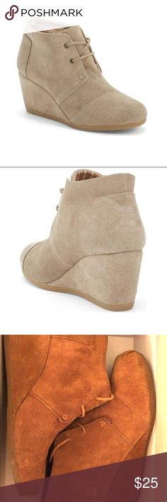 """""""Desert"""" Wedge Booties A just-right wedge gives you a lift in a modern, versatile chukka boot laced with utilitarian undertones. Toms Shoes Ankle Boots & Booties"""