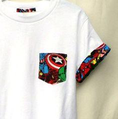Camiseta de super héroe Capitán América bolsillo por Unpluggedesign