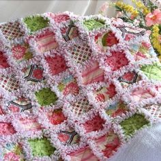 Pink Brown and Green Baby Quilt Blanket Quilts Just 4 Kids Sewing Crafts, Sewing Projects, Diy Crafts, Sewing Diy, Rag Quilt Instructions, Plaid Patchwork, Yo Yo Quilt, Baby Rag Quilts, Custom Baby Bedding