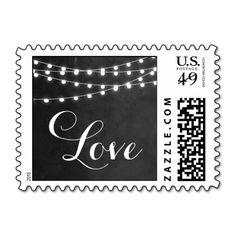 Summer String Lights Wedding Love Postage Stamp