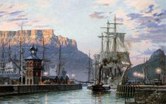 """John Stobart 'Cape Town: The Bark """"William Hales"""" Towing Out of Port in limited edition print showing the American bark, WILLIAM HALES. South African Art, Cape Town South Africa, Table Mountain, Historical Pictures, Tall Ships, African History, Old Photos, Vintage Photos, Sailing Ships"""