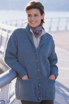 Shawl Collar Cardigan in Lion Brand Wool-Ease Chunky. Easy knit classic. Free pattern.