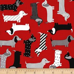 Kaufman Urban Zoologie Weenie Dogs Red from @fabricdotcom  Designed by Ann Kelle for Robert Kaufman, this cotton print is perfect for quilting, apparel and home decor accents. Colors include red, black, grey and white.