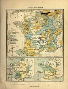 Cartography France -- Geologic map of France #free ... more here: http://vintageprintable.com/wordpress/tag/crafts/