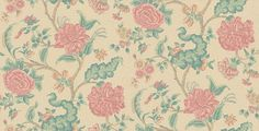 Rossetti (W806-3) - Sheila Coombes Wallpapers - A stylised pink carnation flower multi-coloured trail set against a decorative neutral background. Please request sample for true colour match.