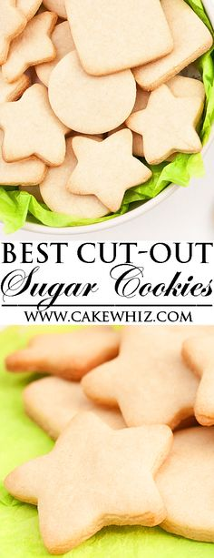 This is the BEST NO FAIL SUGAR COOKIES recipe. They taste great, don't spread, hold their shape, require no chilling and are great for cookie decorating! They are the perfect cut out sugar cookies (small batch recipe) for Christmas holidays. From cakewhiz.com