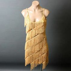 Gold Sequin 20S Vtg Style Flapper Tiered Fringe Evening Party Dress Size M/L