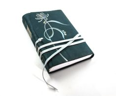 Bloom  Leather Journal in Teal Notebook with White by Baghy, $48.00