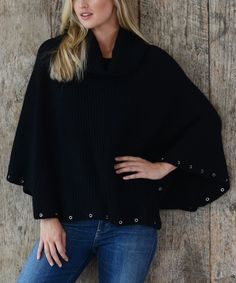 Take a look at this Black Grommet Wool-Blend Poncho today!