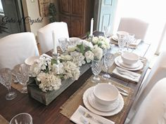 Gates of Crystal: Burlap, White and Crystal  Love the trough centerpiece and hydrangeas