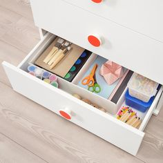 IKEA - GODISHUS, chest, white, Perfect height for small children. With the included colorful stickers, you can quickly label the drawers in your own personal way. Childrens Bedroom Storage, Kids Bedroom, 3 Drawer Chest, Chest Of Drawers, Ikea, Dresser Organization, Kids Dressers, Plastic Foil