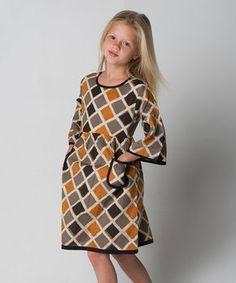 Gray & Brown Geometric Pocket-Front A-Line Dress