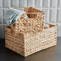 Beautifully constructed, our Water Hyacinth Bins offer an attractive option for storage of a variety of items around your home. Choose from several functional sizes of this popular woven basket. Fabric Storage, Storage Baskets, Door Storage, Small Bedroom Inspiration, Bedroom Ideas, Metal Shoe Rack, Tiny Laundry Rooms, The Home Edit, French Country Bedrooms