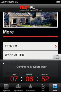 TEDx event app screen. Created with AppBaker's Event Starter Pack
