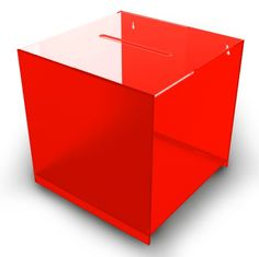 Red Cube Acrylic Suggestion Box, Counter or Wall Mountable