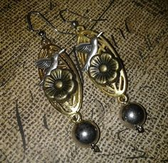 Silver and Gold tone Bird Earrings by 1989michelle on Etsy, $10.00