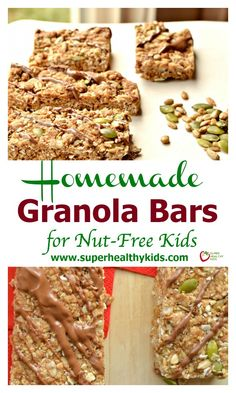 Delicious and Chewy Homemade Granola Bars for Nut-Free Kids. Chewy granola bars, full of nutrition and nut-free!superhealthyk… Source by hoskingstephani Nut Free Granola Bar Recipe, Healthy Granola Bars, Chewy Granola Bars, Homemade Granola Bars, Protein Snacks, Healthy School Snacks, Healthy Kids, Protein Bars, High Protein