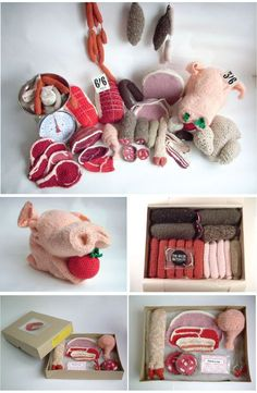 Clemence Joly. Crocheted traditional French butcher window display for London shop,
