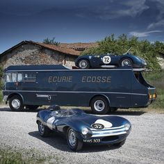 Ecurie Ecosse transporter with a Jaguar C-type and D-type