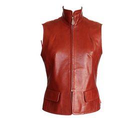 Pre-owned HERMES vest vintage CONCERTO scarf print back lambskin... ($3,975) ❤ liked on Polyvore featuring outerwear, vests, jackets, red vest, button vest, pocket vest, quilted zip front vest and mens waistcoat
