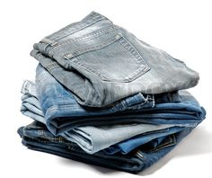 'Stack of Folded Old Jeans'