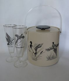 Vintage Vinyl Ice Bucket Water Fowl Mallard Duck by chriscre