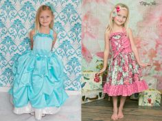 Cheyenne's Perfect Party Dress pdf sewing pattern by Create Kids Couture! Two options are included in one pattern- everyday or fancy! Fancy includes a double layer skirt and directions for pick ups. Everday version includes optional corset.