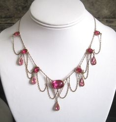 Festoon Necklace Art Nouveau Swag HOT Pink Downton by GlamEras, $240.00