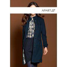 Apart Flaušový kabát v tmavě modré barvě 301bc97d7f