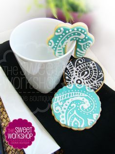 The Sweet Workshop - henna style patterning Mini Cakes, Cupcake Cakes, Cupcakes, Henna Style, Cookie Ideas, Peacocks, Zentangles, Confectionery, Decorated Cookies