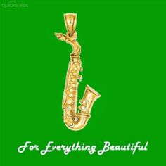Saxophone Musical 3D Polished 14K Yellow Gold Pendant Charm by JB7339 - $441.00