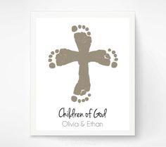 Christian Nursery Art Print - Twins Cross Baby Footprint Art - Personalized Baptism Christening Gift - Child of God Wall Art - Sibling Art