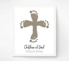 Christian Nursery Art Print - Twins Cross Baby Footprint Art - Personalized Baptism Christening Gift - Child of God Wall Art - Sibling Art on Etsy, $40.00