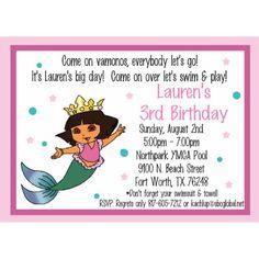 Dora Mermaid Invitation