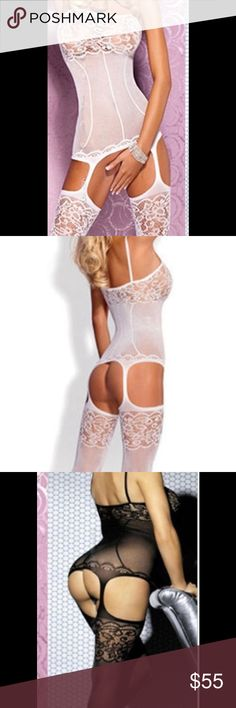 One piece lace lingerie One piece lace garter lingerie/ white/ brand new/ no returns Intimates & Sleepwear