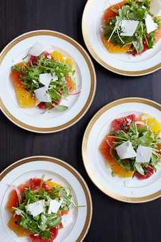 This citrus salad with arugula and ricotta salata is the perfect starter course for a winter dinner party.