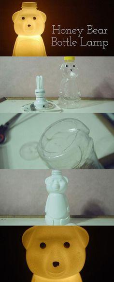 Upcycled Honey Bear Bottle Lamp