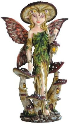 "14"" Forest Fairy of a Mushroom Kingdom Statue. #Fairy #Figures #Sculptures #Figurines #Fantasy #gosstudio #Gift .★ We recommend Gift Shop: http://www.zazzle.com/vintagestylestudio ★"