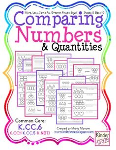 This is a set of 14 worksheets to help young learners develop early number sense. Each page features key vocabulary (more, less, same as, greater, ...