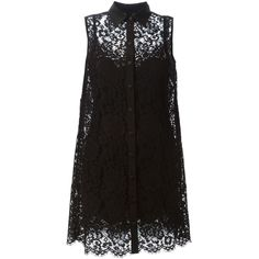 Dolce & Gabbana lace shirt dress ($2,075) ❤ liked on Polyvore featuring dresses, tops, vestidos, short dresses, black, lace cocktail dress, collared shirt dress, lace mini dress and sleeveless shirt dress