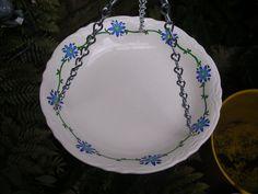 Vintage recycled hand painted China bowl hanging garden art bird bath kitchen window. $25.00, via Etsy.