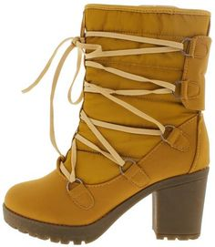 18167 WHEAT QUILTED CHUNKY HEEL SNOW BOOT ONLY $21.88