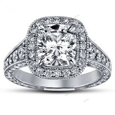 Halo Cushion Cut Diamond 1.45CT Engagement Ring Set 925 Silver 10k White Gold FN #affoin8 #WomensSolitaireWithAccentsEngagementRing