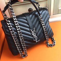 Saint Laurent CLASSIC MEDIUM COLLÈGE BAG IN BLACK MATELASSÉ LEATHER - Bella Vita Moda #ysl #yslbag #ysllover #ysladdict #yslforsale #bagforsale #fashionista